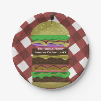 Big Greasy Hamburger Summer Cookout Red BBQ Party Paper Plate