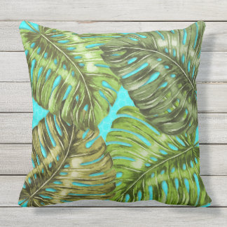 Big Green Jungle Leaves on Aqua Outdoor Cushion