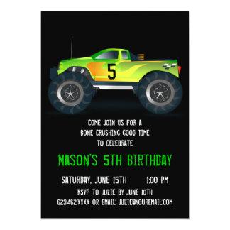 Big Green Monster Truck Birthday Party Invitations
