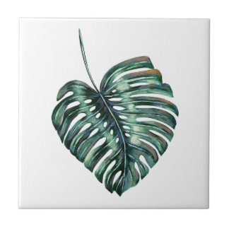 Big Green Tropical Leaf Small Square Tile