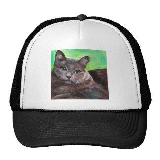 Big Grey Tom Cat Pet Kitty Green Background Trucker Hat