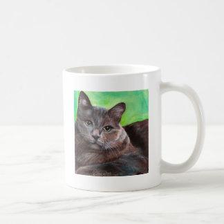 Big Grey Tom Cat Pet Kitty Green Background Coffee Mug