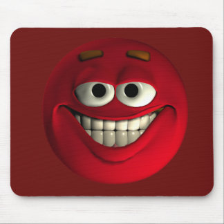 Big Grin Red Emoticon Mouse Pad