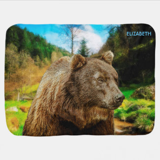 Big Grizzly Bear And Beautiful Mountains Landscape Baby Blanket