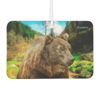 Big Grizzly Bear And Beautiful Mountains Landscape Car Air Freshener
