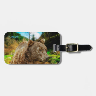 Big Grizzly Bear And Beautiful Mountains Landscape Luggage Tag