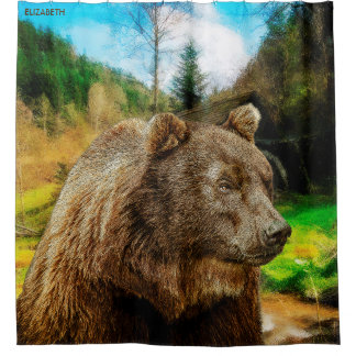 Big Grizzly Bear And Beautiful Mountains Landscape Shower Curtain