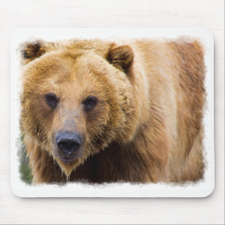 Big Grizzly Bear White Border Mouse Pad