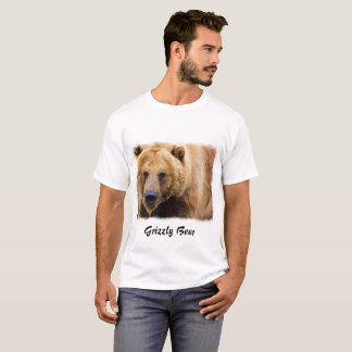Big Grizzly Bear White Border T-Shirt