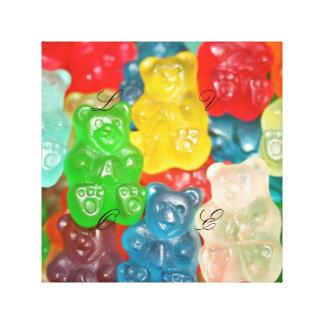 Big gummy bears pattern for big & small,candy,fun, canvas print