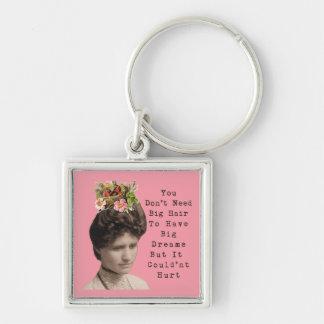 Big Hair, Big Dreams Vintage Photo Collage Silver-Colored Square Key Ring