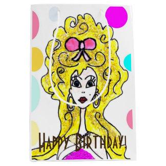 "Big Hair ""Happy Birthday"" Gift Bag Medium Gift Bag"