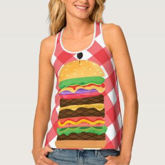 Big Hamburger Summer Burger Red & White Gingham Singlet