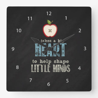 BIg heart Square Wall Clock