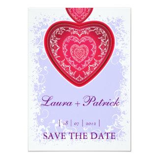"Big Heart (violet) invitation 5"" X 7"" Invitation Card"