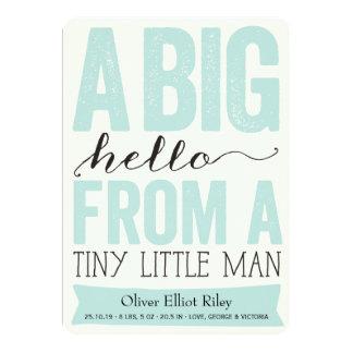 Big Hello Little Man Baby Boy Birth Announcement