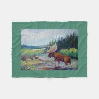 Big Horn Mountain Moose Fleece Blanket