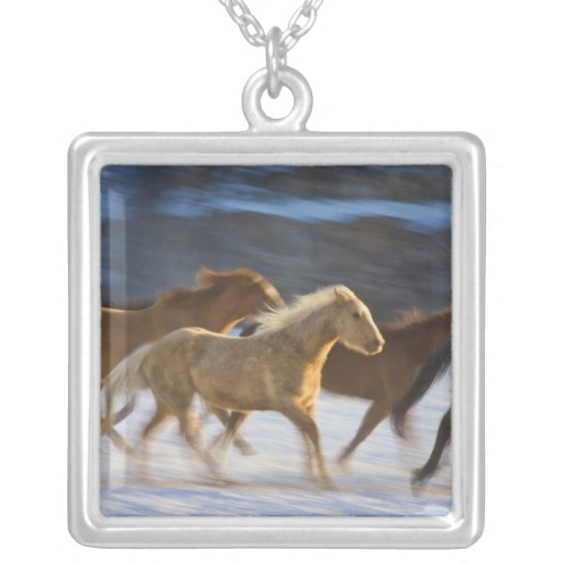 Big Horn Mountains, Horses running in the snow 2 Pendant