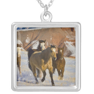 Big Horn Mountains, Horses running in the snow 3 Custom Jewelry