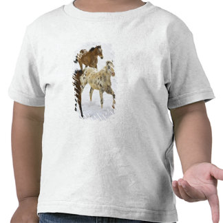 Big Horn Mountains, Horses running in the snow 4 T Shirts