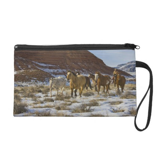 Big Horn Mountains, Horses Running in The Snow Wristlet Clutch