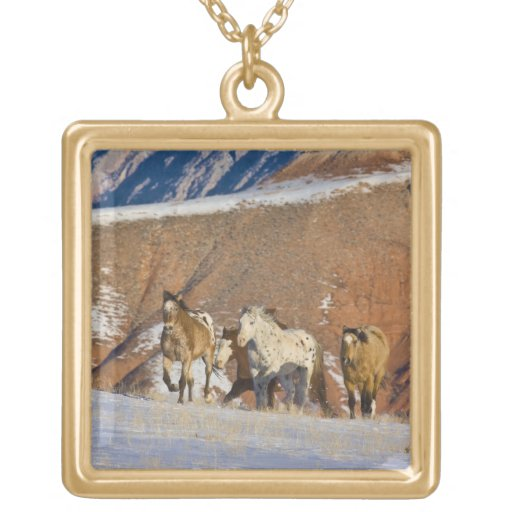 Big Horn Mountains, Horses running in the snow Custom Jewelry
