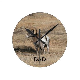 Big Horn Ram Dad Round Clocks