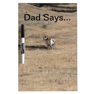 Big Horn Ram Dad Says...Dry Erase Board Dry-Erase Whiteboard