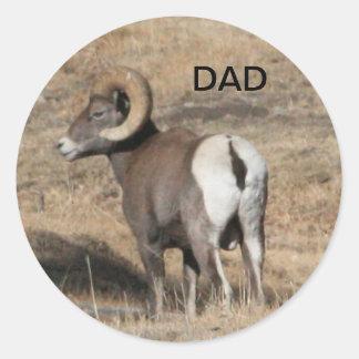 Big Horn Ram Dad Round Stickers