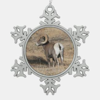 Big Horn Ram Pewter Snowflake Decoration