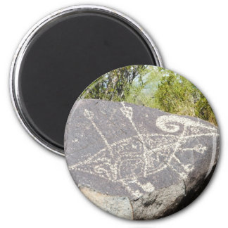 Big horn sheep petroglyph 6 cm round magnet