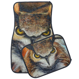 Big Horned Grumpy Owl Car Mat
