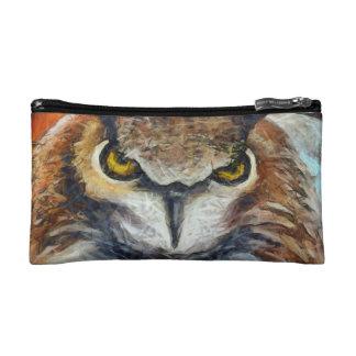 Big Horned Grumpy Owl Cosmetic Bag