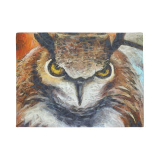 Big Horned Grumpy Owl Doormat