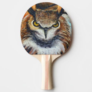 Big Horned Grumpy Owl Ping Pong Paddle