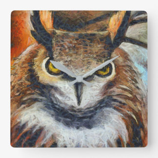 Big Horned Grumpy Owl Square Wall Clock