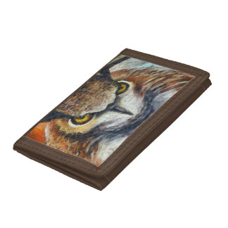 Big Horned Grumpy Owl Tri-fold Wallets