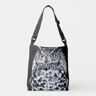 Big Horned Owl Art Crossbody Bag
