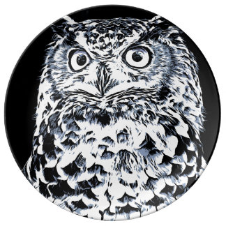 Big Horned Owl Art Plate