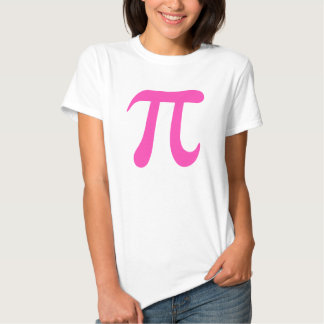 Big hot pink pi symbol t-shirt for girls and women