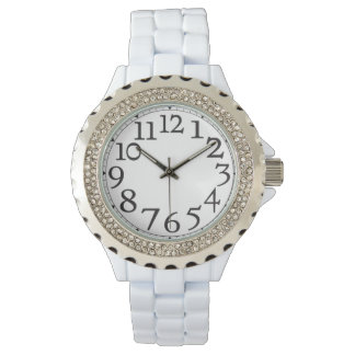 Big Hour Numbers Rhinestone Wrist Watch
