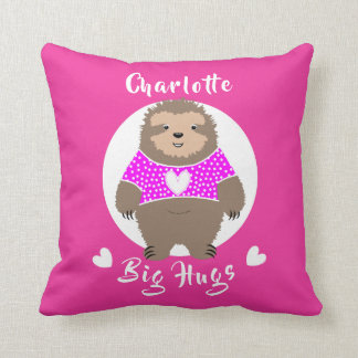 Big Hugs Fun Super Cute Sloth Personalized Cushion