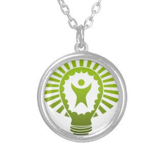 Big Idea Lightbulb Man Round Pendant Necklace