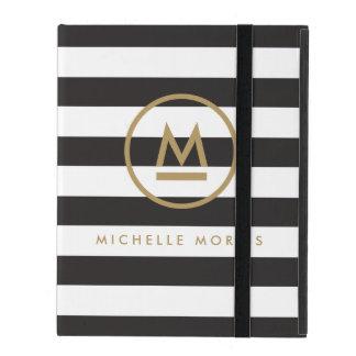 Big Initial Modern Monogram on Bold Stripes iPad Folio Case