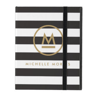 Big Initial Modern Monogram on Bold Stripes iPad Folio Cover