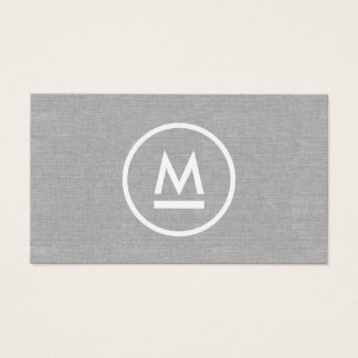 Big Initial Modern Monogram on Gray Linen