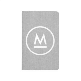 Big Initial Modern Monogram on Gray Linen Journal