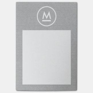 Big Initial Modern Monogram on Gray Linen Post-it® Notes