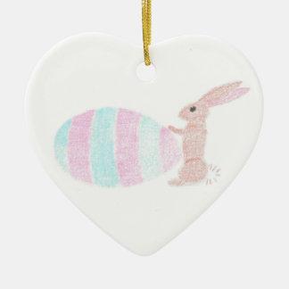 Big Job For A Little Bunny Ceramic Heart Decoration