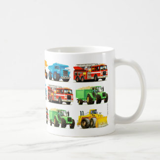 Big Kid's Construction Trucks Pattern Basic White Mug